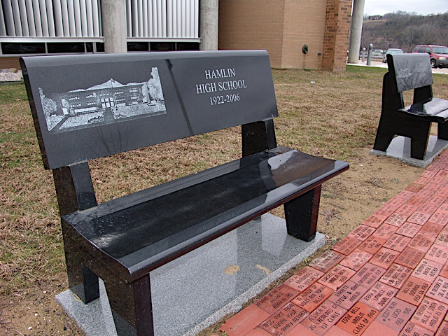 Image Source: https://picasaweb.google.com/102430107533581951674/LCHSBenches#5568753531968274450 A marble bench for one of the four high schools Lincoln County consolidated from, this one being for Hamlin High School.