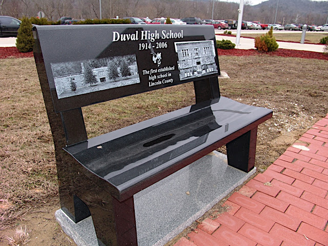 Image Source: https://picasaweb.google.com/102430107533581951674/LCHSBenches#5568753531968274450 A marble bench for one of the four high schools Lincoln County consolidated from, this one being for Duval High School.