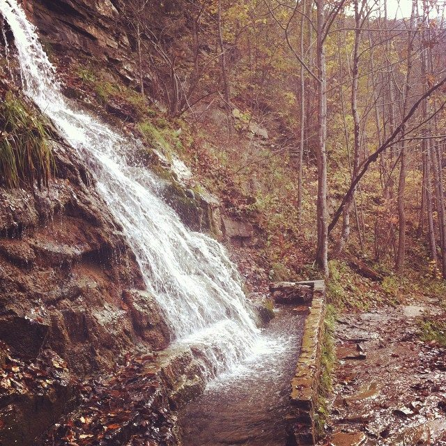 Water rushing off the hillside in the autumn season, on the Kaymoor Mine hiking trail.