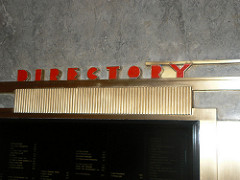 The directory board in the lobby