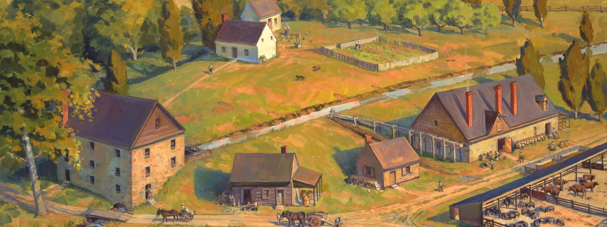 Artist's depiction of the gristmill and distillery