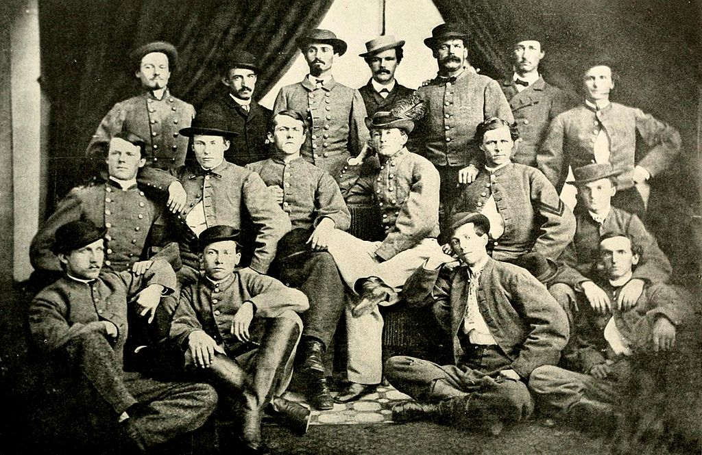 Image of Mosby's Rangers. John Mosby is in the center (second row, fourth from the left)