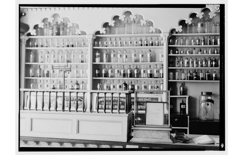 Inside the Apothecary. Photo taken after 1933. Source: Historic American Buildings Survey (Library of Congress)