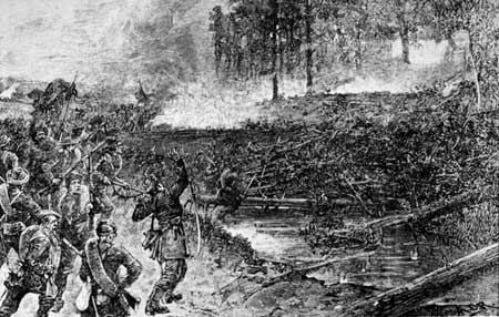 This sketch made a few years after the battle depicts the Confederate attack led by Stonewall Jackson's men.