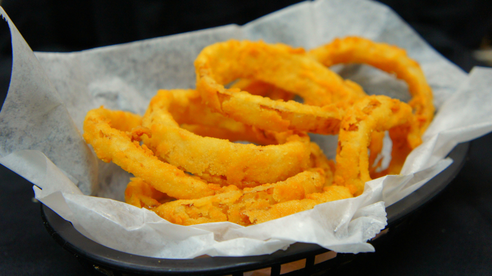 Hand-cut and battered onion rings