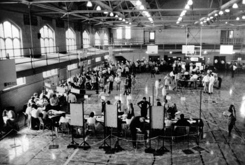 Student registering in the Old Gym circa 1960