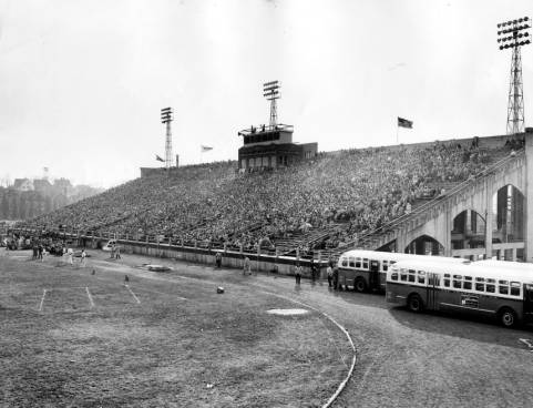 Fans fill the bleachers for a home game circa 1936