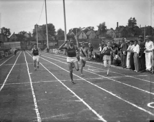 Ralph Metcalfe wins the 100 meter dash at Marquette University Stadium circa 1932
