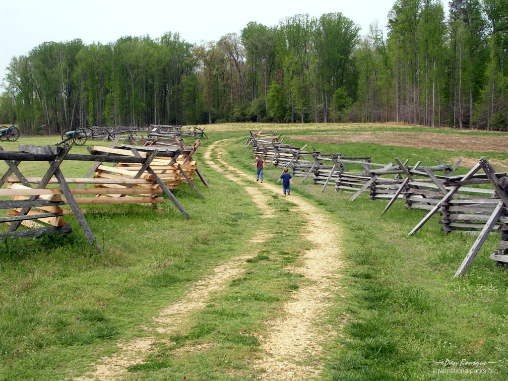 Children enjoy the walking trails that crisscross the battlefield.