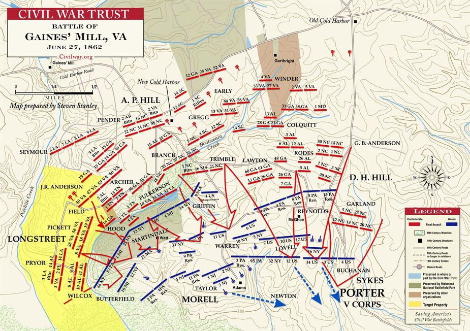 The battlefield map showing the Union defensive positions and major Confederate assaults.