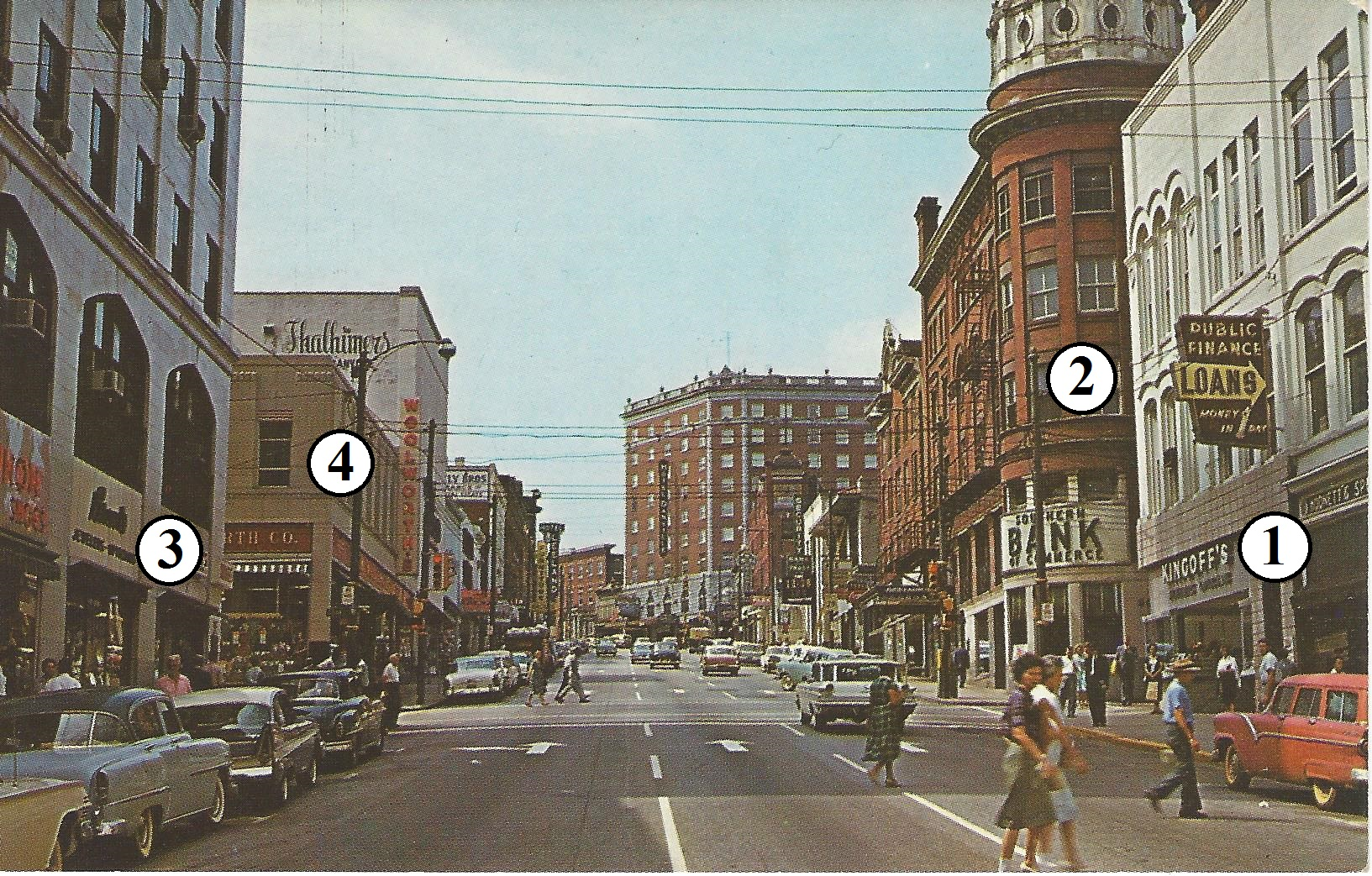 "Looking to the west up Main Street, the four corners pictured in this 1950s era postcard are: #1, the Dudley Block-- #2, the ""hotel"" corner--#3, the Masonic Temple corner--#4, the Woolworth corner. Downtown Danville is undergoing revitalization."