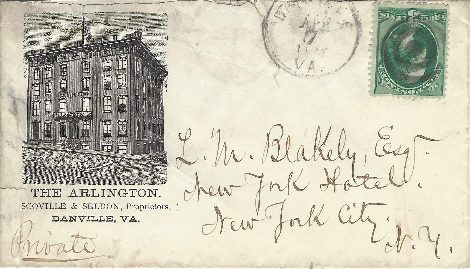The first (1833) building on corner #2 was the Red Castle Tavern, housing the Farmers' Bank of VA. Shown in an 1870s postal cover, the Arlington Hotel next graced the corner. All the hotels on this corner had to deal with a severe slope of the land.
