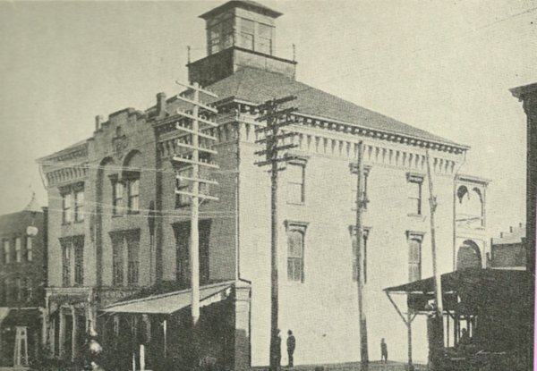Corner #3 has been home to a Masonic Temple since 1851, shown in this picture. It featured stores and a saloon on the first floor to assure an income.