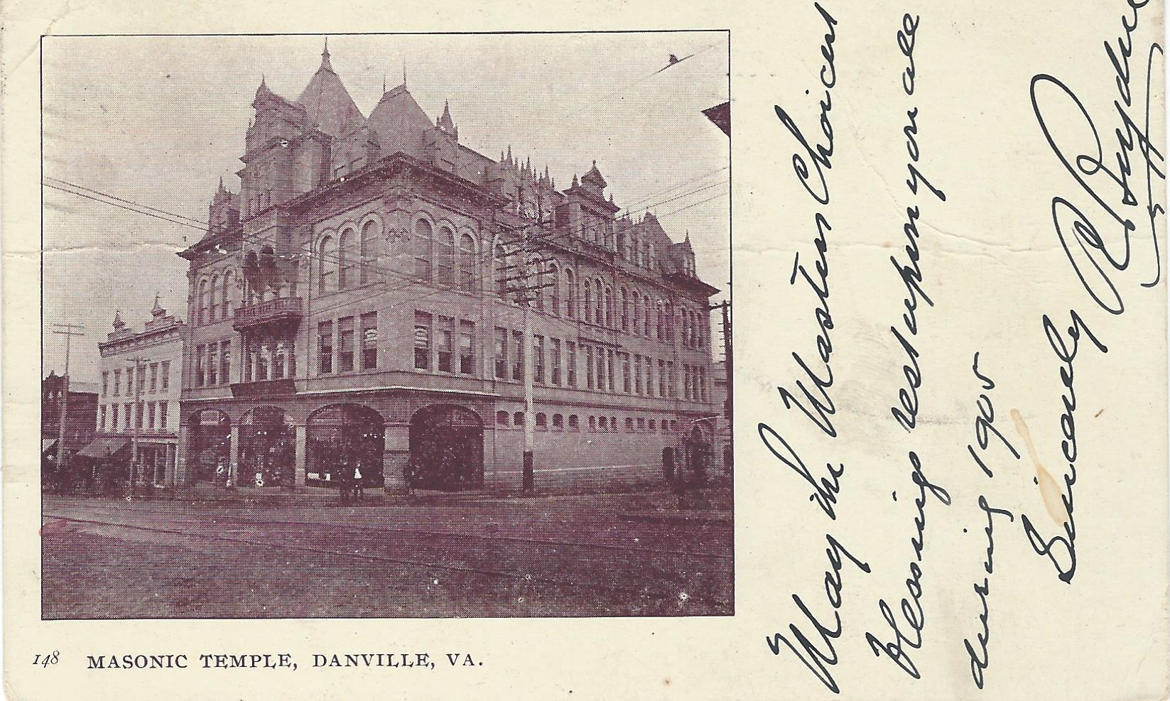 On January 3, 1920, this building along with most of the others on the block, was destroyed by a disastrous fire. This postcard showing the Masonic Temple is dated 1904. Notice the maze of power lines above and trolley tracks below (now buried).