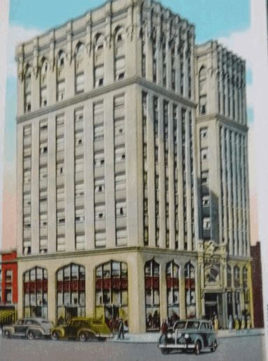 "In 1921 the ""present"" Masonic building was erected on the same site. It is a ten-story structure with stores on the first floor and office and professional suites on all other floors except those reserved for lodge meetings. Danville's best offices."