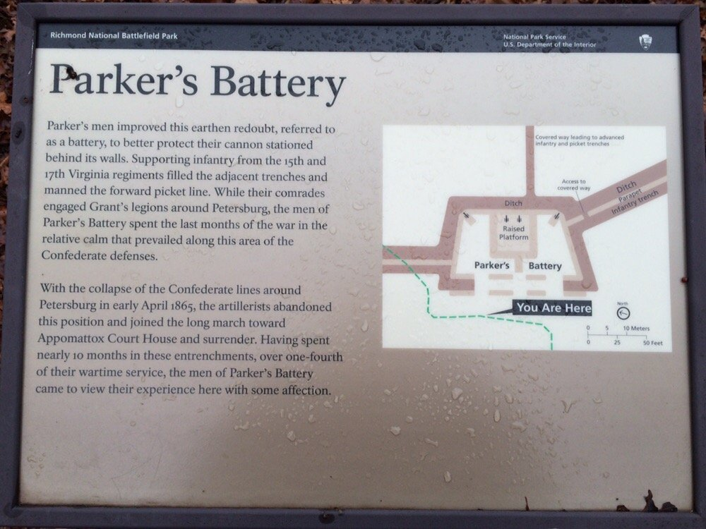 Another interpretive sign with map of Parker's Battery.