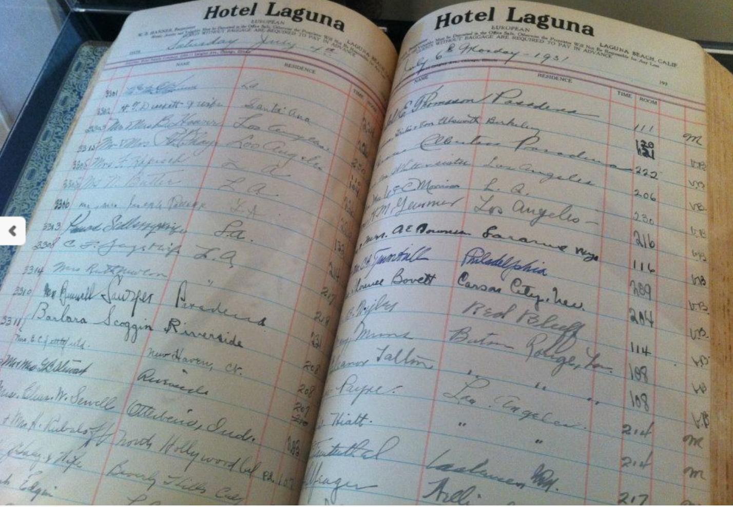 Hotel Laguna Guest Book - 1931