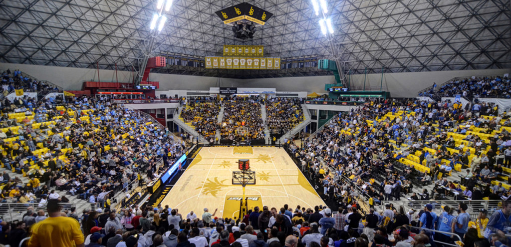 Basketball game hosted inside the Walter Pyramid