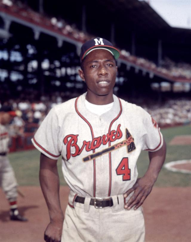 Hank Aaron in Braves uniform