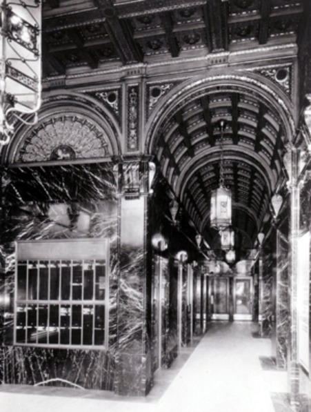 This historic photograph show the interior of the building at mid-century