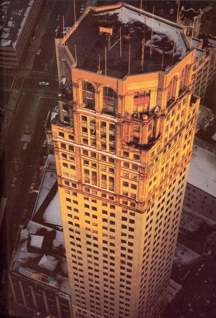 Broderick Tower was completely empty during for several decades. This photo shows the building at a time when there were no tenants