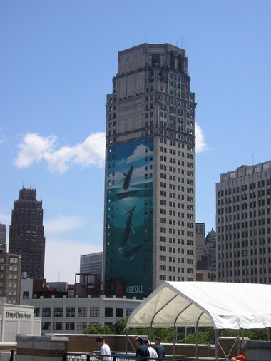 Whale mural on the side of the Broderick, completed in 1997 by artist Rober Wayland and a Detroit icon