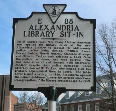 Alexandria Library Sit-In Historical Marker