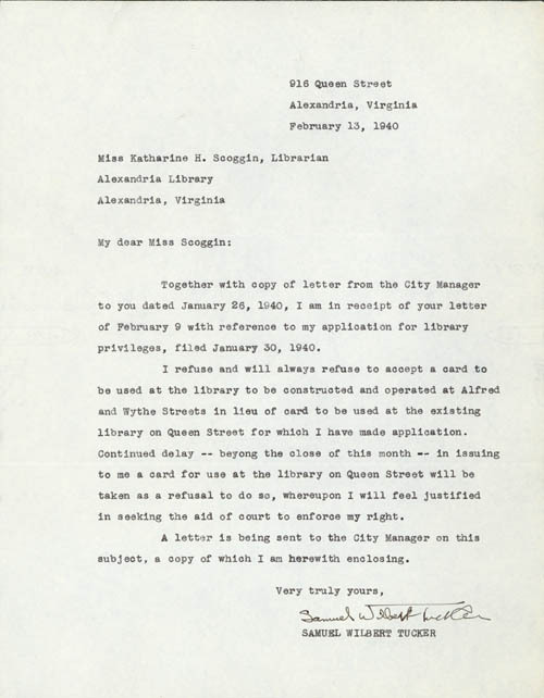 Tucker's letter in response of the blacks-only library following the sit-in