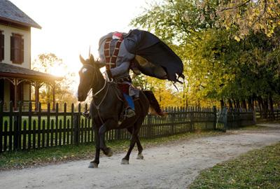 Headless Horseman haunting the park during Halloween
