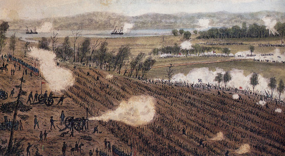 An artist's rendition of the Battle of Malvern Hill with Union warships firing in the background.