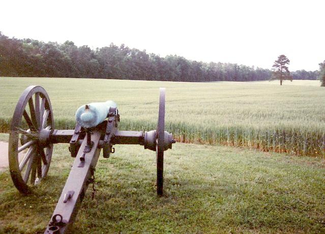 A cannon sits as silent sentinel over the battlefield.