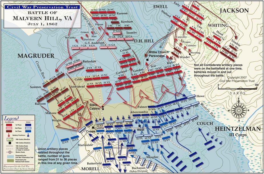 A battlefield map of Malvern Hill.