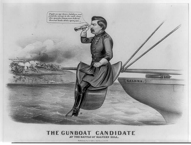 An 1864 anti-McClellan presidential cartoon about his fleeing to Union ships prior to the Battle of Malvern Hill.