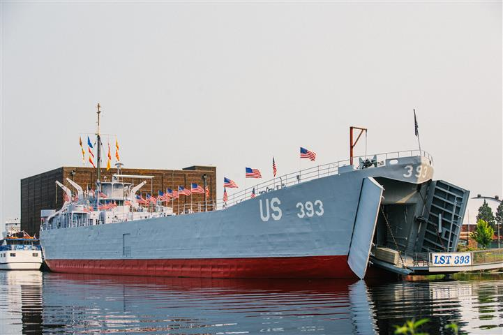 "At the Mart Dock in Muskegon, painted in ""D-Day Gray"""