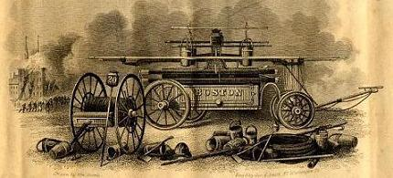 Engraving depicting a Boston hand engine c.1830 (image from Boston Fire History)