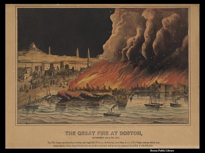 Lithograph depicting the Great Fire of 1872 (image from the Boston Public Library)