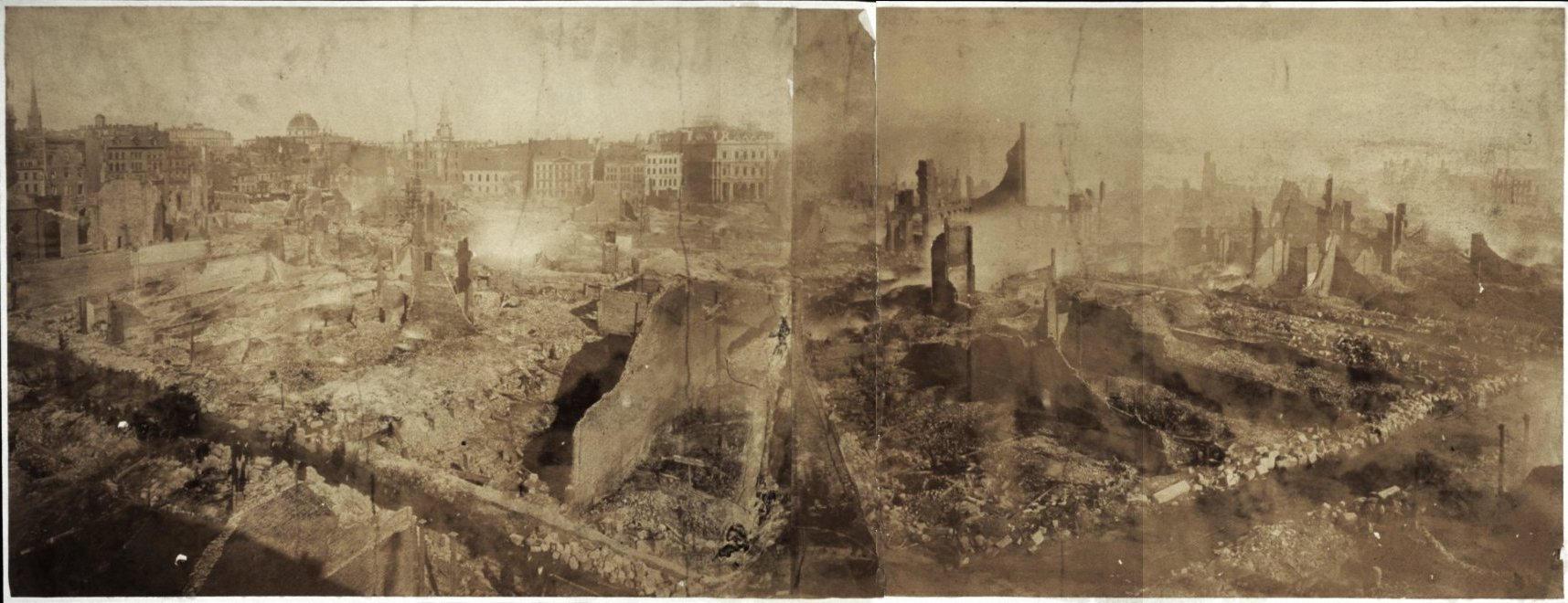 The aftermath of the 1872 fire (image from the Boston Public Library)