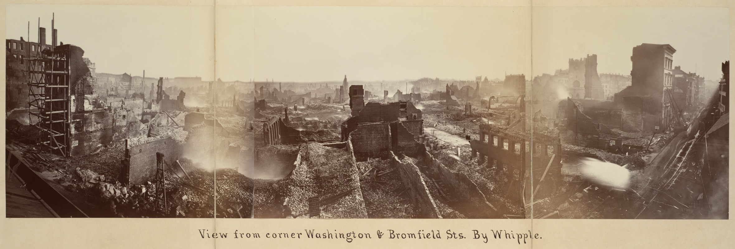 Panoramic of Washington & Bromfield following the fire of 1872 by Whipple (image from the Boston Public Library)
