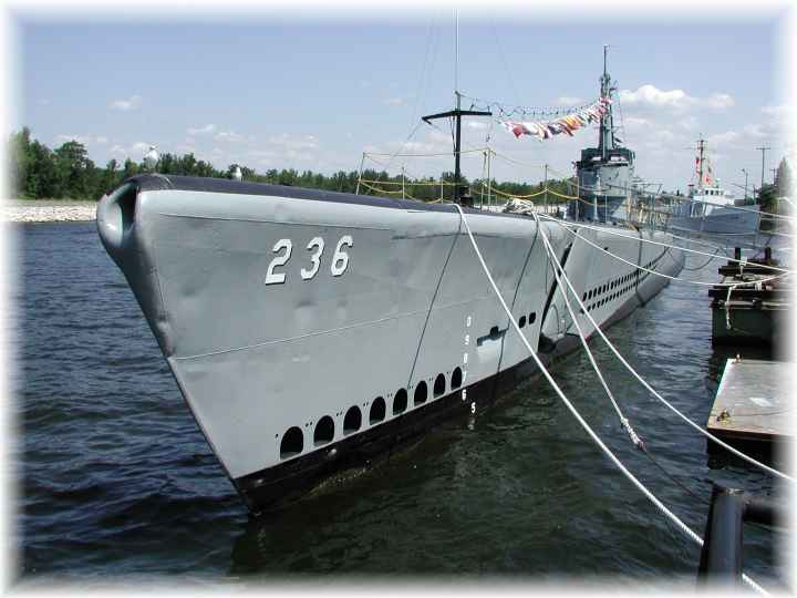 A present-day photo of the USS Silversides (SS-236) moored in the Muskegon Channel.