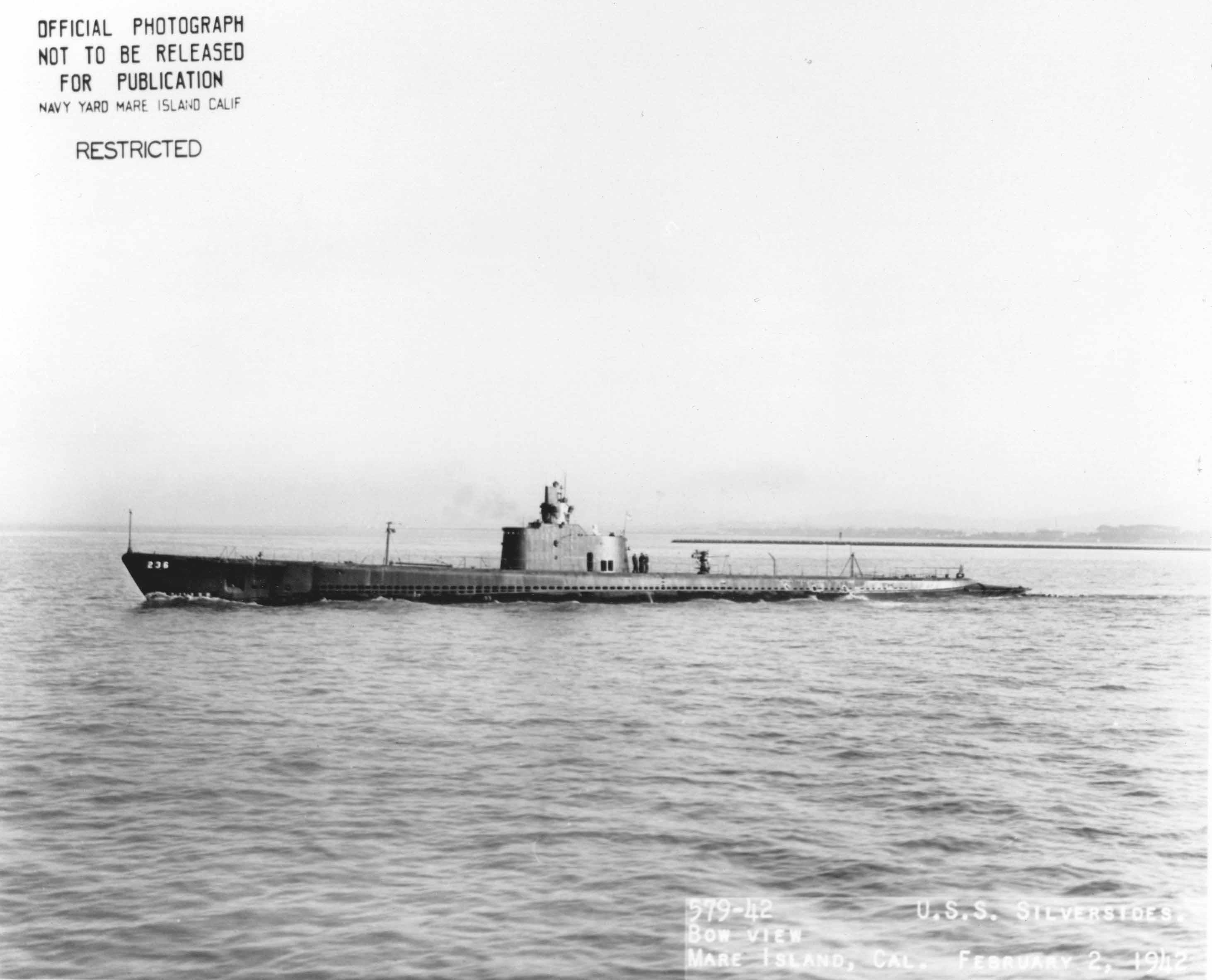 USS Silversides near her port of origin, the Mare Island Navy Yard in Vallejo, California, during World War II.