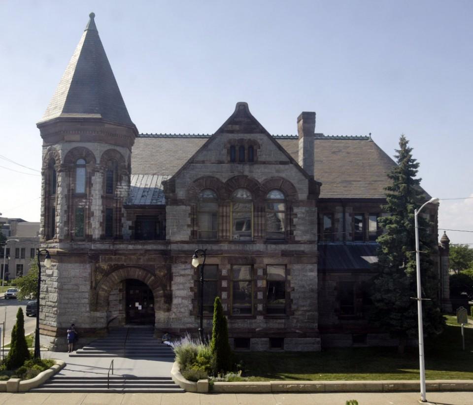 Hackley Public Library main entrance