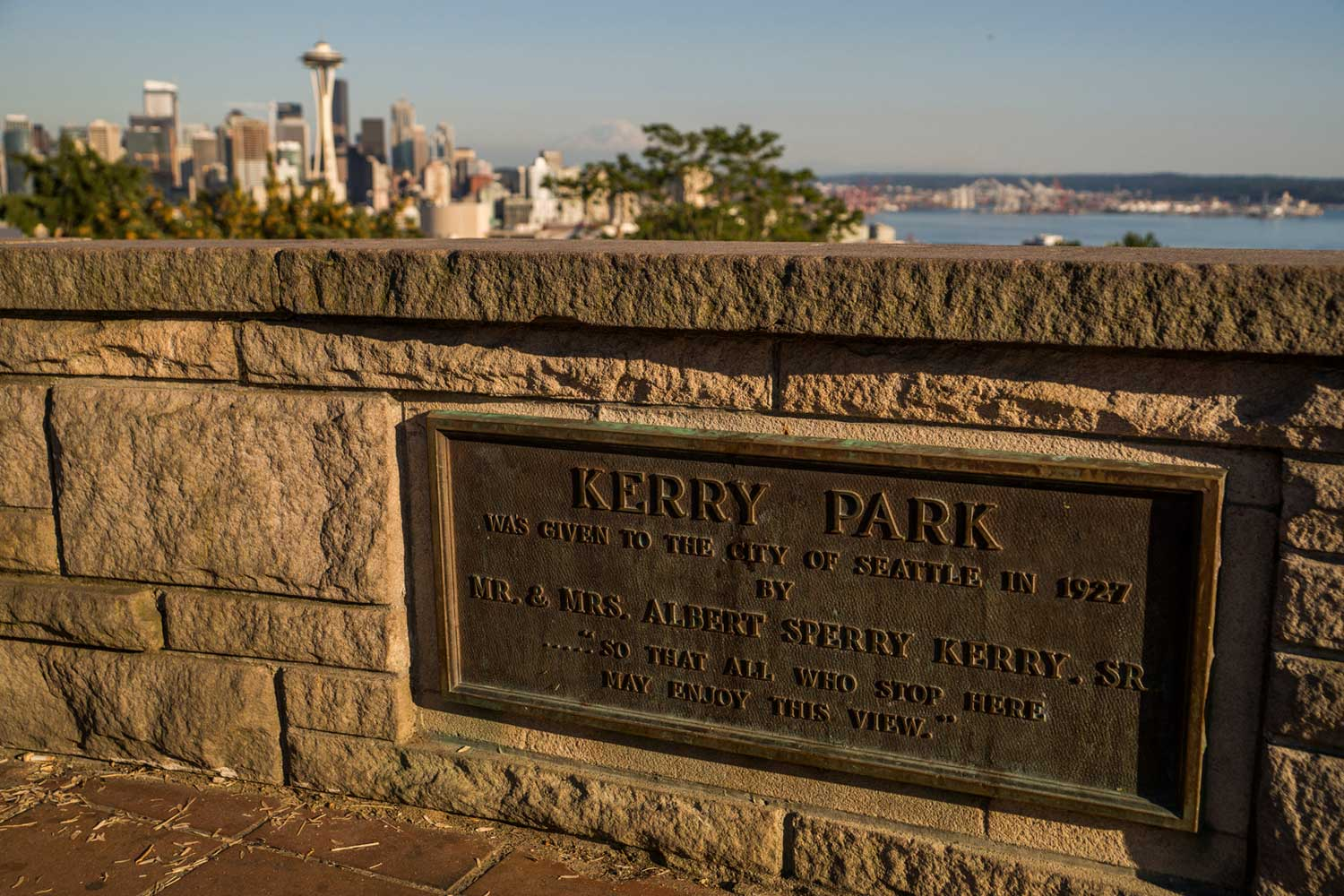 "This plack commemorates the Kerrys for donating Kerry Park to the City. It also includes the quote of why they did it, ""... so that all who stop here may enjoy this view."""
