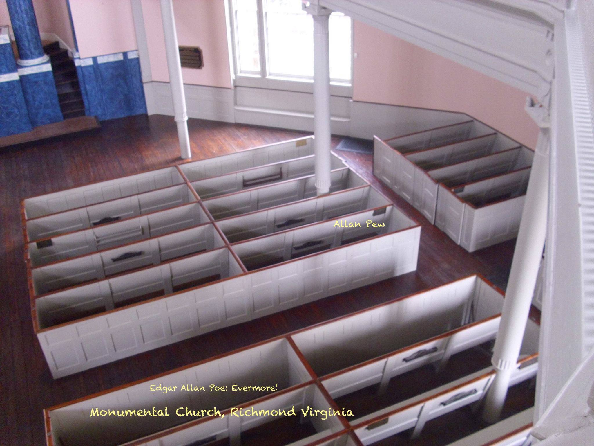 """Interior of the church. The pew with the caption """"Allan Pew"""" is the pew Edgar Allan Poe sat in when he was a parishioner of the church."""