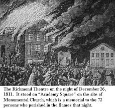 undated rendition of the 1811 Richmond fire. Building in center was the Richmond Theatre