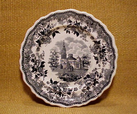 This circa 1831-35 china dessert plate from the J & J Jackson family (and sold at an auction in 2011) contains an image of the Monumental Church.