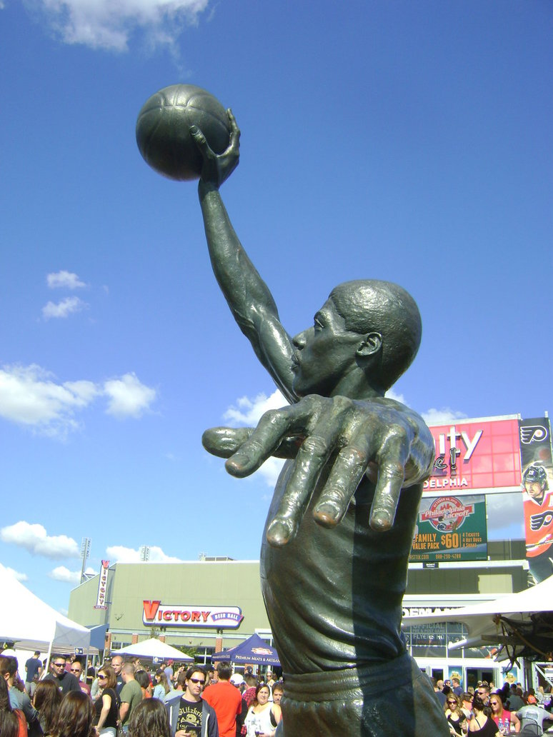 Dr. J statue (side view)