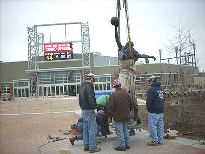 Dr. J statue relocated