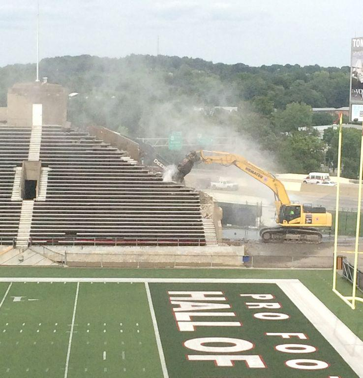 Fawcett Stadium during demolition in the spring of 2015. To become Tom Benson Hall of Fame Stadium