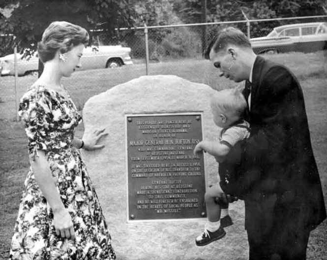 Doris Toftoy Williams with the memorial plaque to her father in 1958.