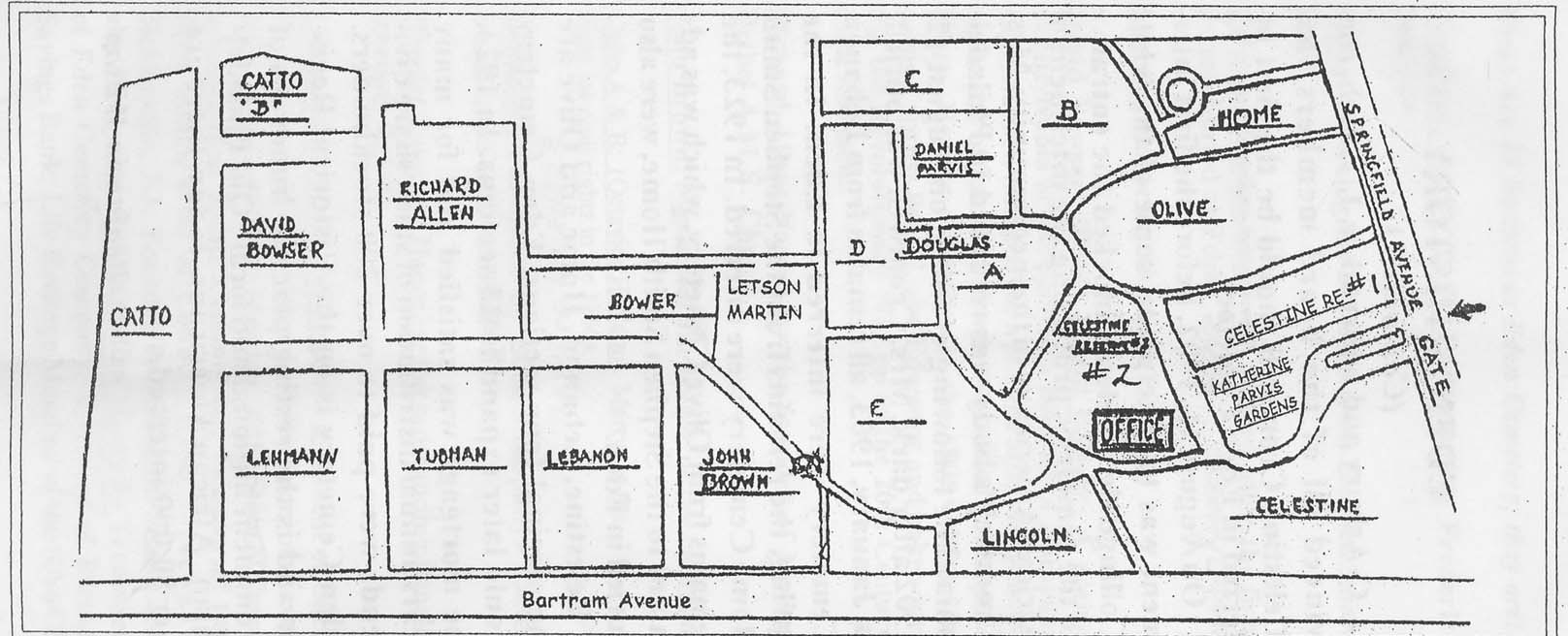 Map of the 53-acre cemetery
